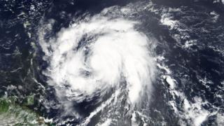 Image shows Hurricane Maria in the Atlantic ocean