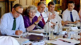 Theresa May and other cabinet ministers at Cheques last Friday