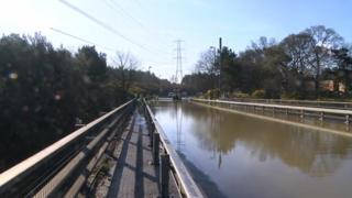 Flooded motorway bridge