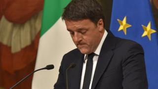 "Italy""s Prime Minister Matteo Renzi announces his resignation during a press conference at the Palazzo Chigi after the results of the vote for a referendum on constitutional reforms, on 4 December 2016 in Rome."