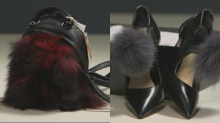 A black and red furry handbag from TK Maxx was made from fox fur, while the store's shoes bought online contained raccoon dog fur
