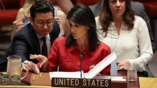 La embajadora Nikki Haley en el Consejo de Seguridad de la ONU