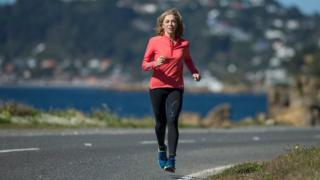 Katherine Switzer runs along a road in February 2017 in Wellington, New Zealand