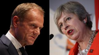 Donald Tusk and Theresa May (composite image)