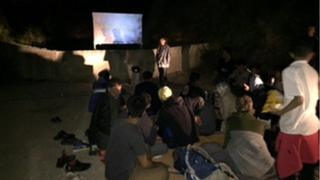 Layla set up an outdoor cinema at the refugee camp
