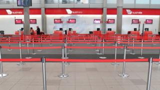 Empty Virgin Australia airline counter