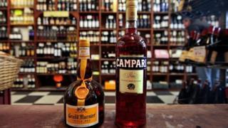 A bottle of Grand Marnier and Campari