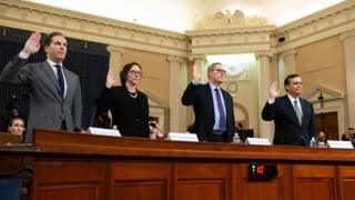 Temsilciler Meclisi'nde ifade veren uzmanlar, soldan sağa: Noah Feldman, Pamela Karlan, Michael Gerhardt and Jonathan Turley