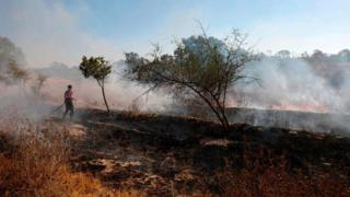 An Israeli fire fighter extinguishes a fire near Kibbutz, next to the Gaza Strip, caused by an incendiary balloon (19 August 2020)