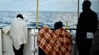 Migrants aboard a rescue ship in the Mediterranean. File photo