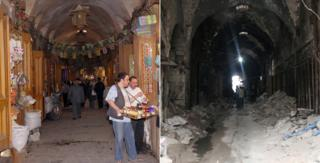 Aleppo souk before and after showing the market has been completely destroyed