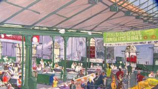 A close-up of a painting of St George's Market in Belfast, one of the artworks in the Stormont collection