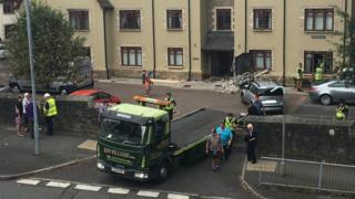 Car crashes into Stewart Hall retirement flats in Sketty, Swansea
