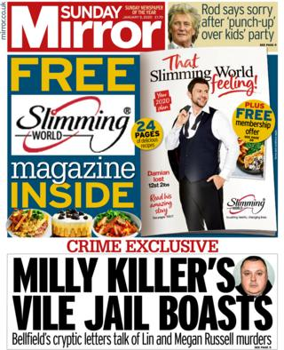Sunday Mirror front page 5 January 2020