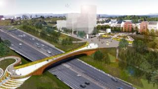 "The ""street in the sky"" bridge will link new civic spaces"
