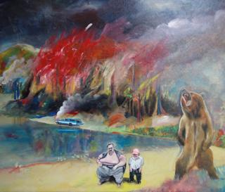 Car, fire, bear by Jim Moir