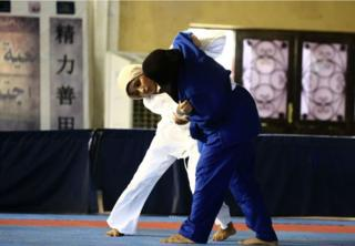 Sudanese judo fighters compete during a women competition held in the capital Khartoum on September 22, 2018.