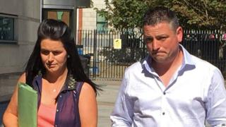 Michelle and Barry Rocks at Belfast Coroner's Court where an inquest for their still born daughter Cara is being held, 30 August 2016