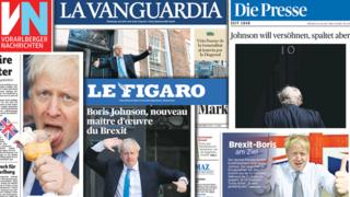 Front pages of European newspaper on Boris Johnson taking power, 24 July 2019