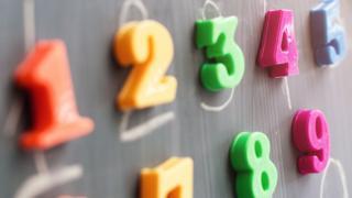 Plastic numbers on a blackboard