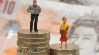 Plastic models of a man and woman standing on a pile of coins and bank notes