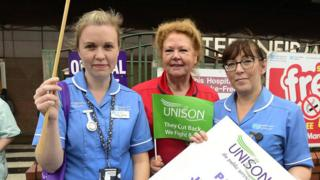 Unison workers strike in Belfast