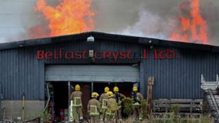 Fire crews tackle a blaze at a crystal factory