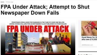Capture d'écran du journal Frontpage Africa