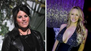 Monica Lewinsky (L) and Stormy Daniels