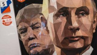 A t-shirt featuring US President Donald Trump and Russian President Vladimir Putin on 27 June