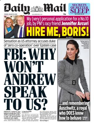 Tuesday's Daily Mail front page