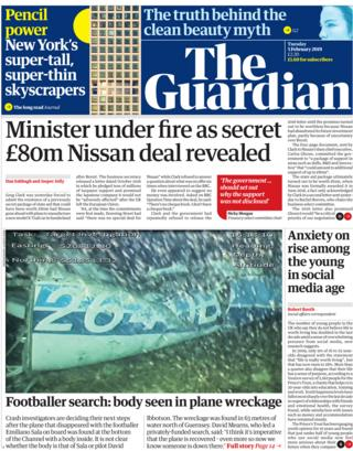 Guardian front page, 5/2/19