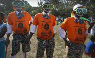 Supporters of the Orange Democratic Movement (ODM) led by Raila Odinga, who is also the leader of Kenya's opposition coalition the National Super Alliance party (NASA) and its presidential candidate, look on during a rally held in Nairobi, Kenya, 7 July 2017