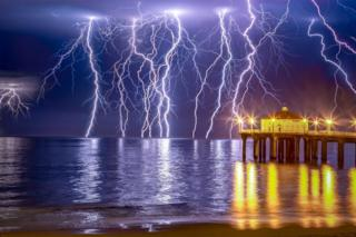 Lightning over Manhattan beach, Los Angeles