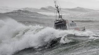 A sea rescue boat moments before it capsized, killing three crew