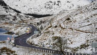 A bus on the A83 Rest and Be Thankful