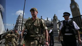 Police and army at Westminster