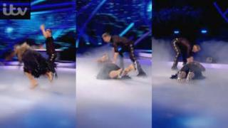 Gemma falls over on Dancing on Ice.