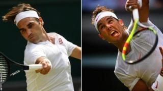 Umusuwisi Roger Federer (ibumoso) n'Umunya-Espanye Rafael Nadal (iburyo)