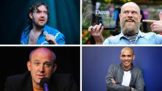 Joke winners (clockwise from top left) Nick Helm, Olaf Falafel, Masai Graham and Tim Vine