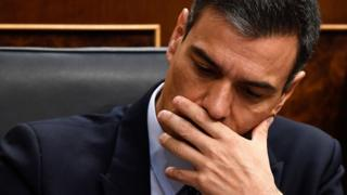 Spanish Prime Minister Pedro Sánchez, who is running for a second term, gestures on the second day of the parliamentary investiture debate to vote for a premier at the Spanish Congress (Las Cortes) in Madrid, 23 July 2019