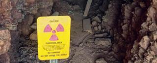 A caution sign at a radioactive area.