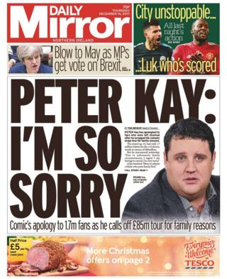 Front page of the Daily Mirror, Thursday 14 December 2017