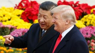 Chinese President Xi Jinping and U.S. President Donald Trump on 9 November