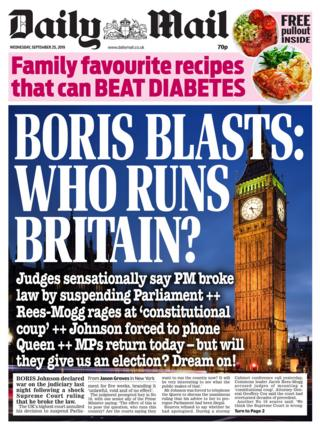 Daily Mail front page 25/09/19