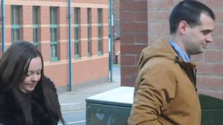 Emma Cole and Luke Morgan arriving at Stafford Crown Court, where they were on trial accused of murdering their nine-week-old son Tyler. Taken on 2 April