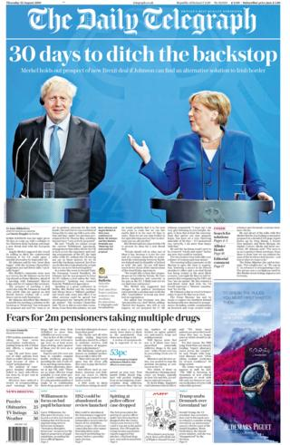 Telegraph front page 22/08/19