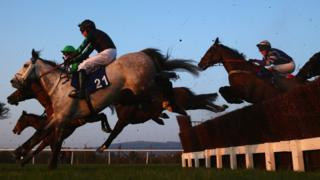 S G Carey on Corrin Wood (21) clears a jump in the Fulke Walwyn Kim Muir Challenge Cup Handicap Chase at Chaltenham in 2017