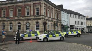 Police at the scene in Carmarthen