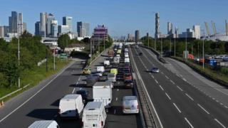 Heavy traffic on approach to Blackwall Tunnel